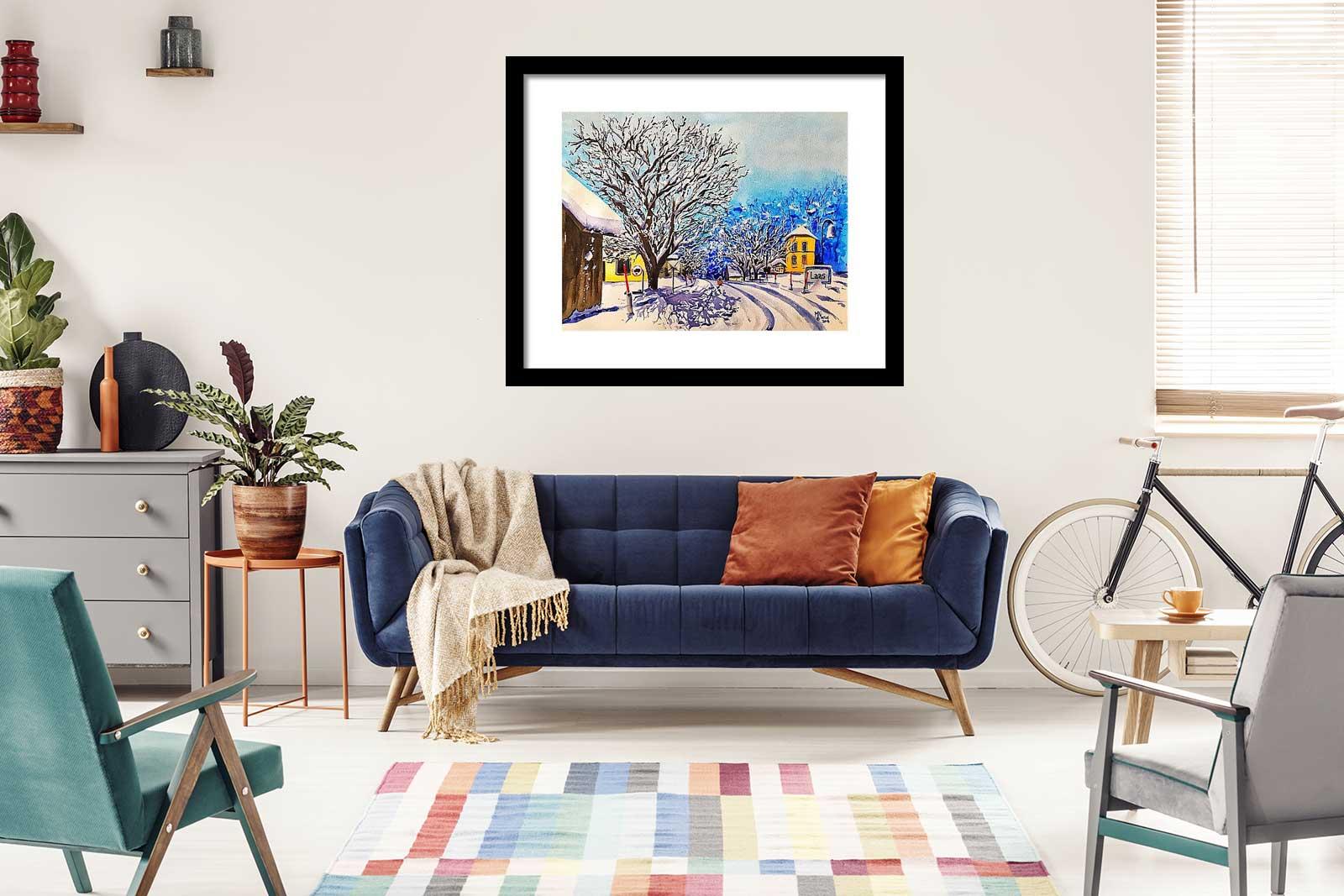 Colorful Winter Watercolor Painting - Monika Arturi
