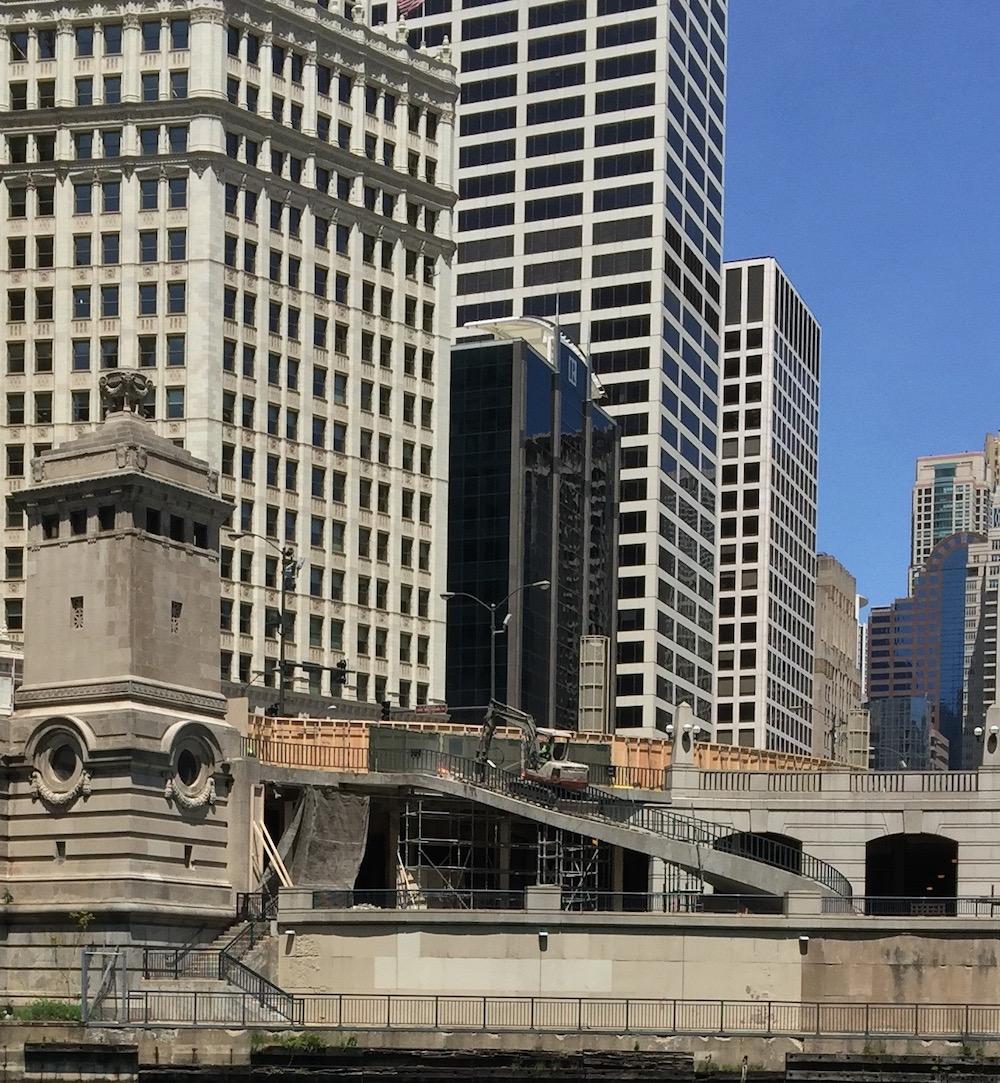 Chicago Riverwalk Demolition of Spiral Staircase