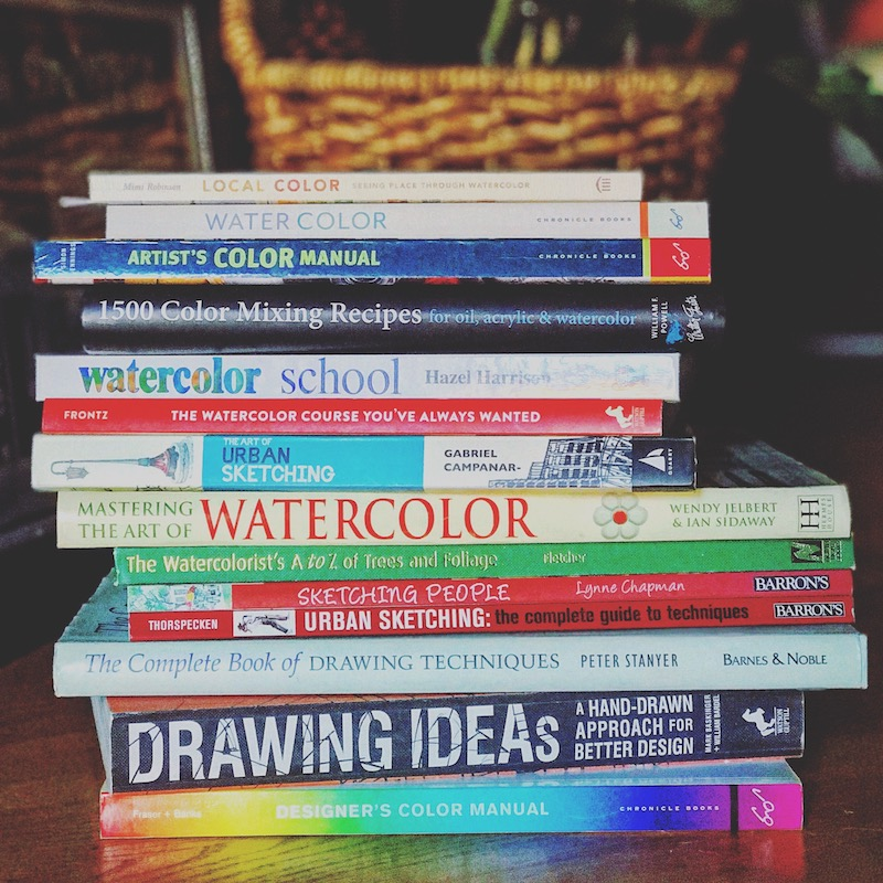 Lots of books on watercolors, urban sketching, color theory, and general techniques.