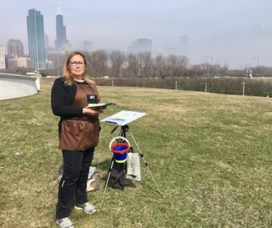 Monika Arturi Plein-Air Painting on Museum Campus