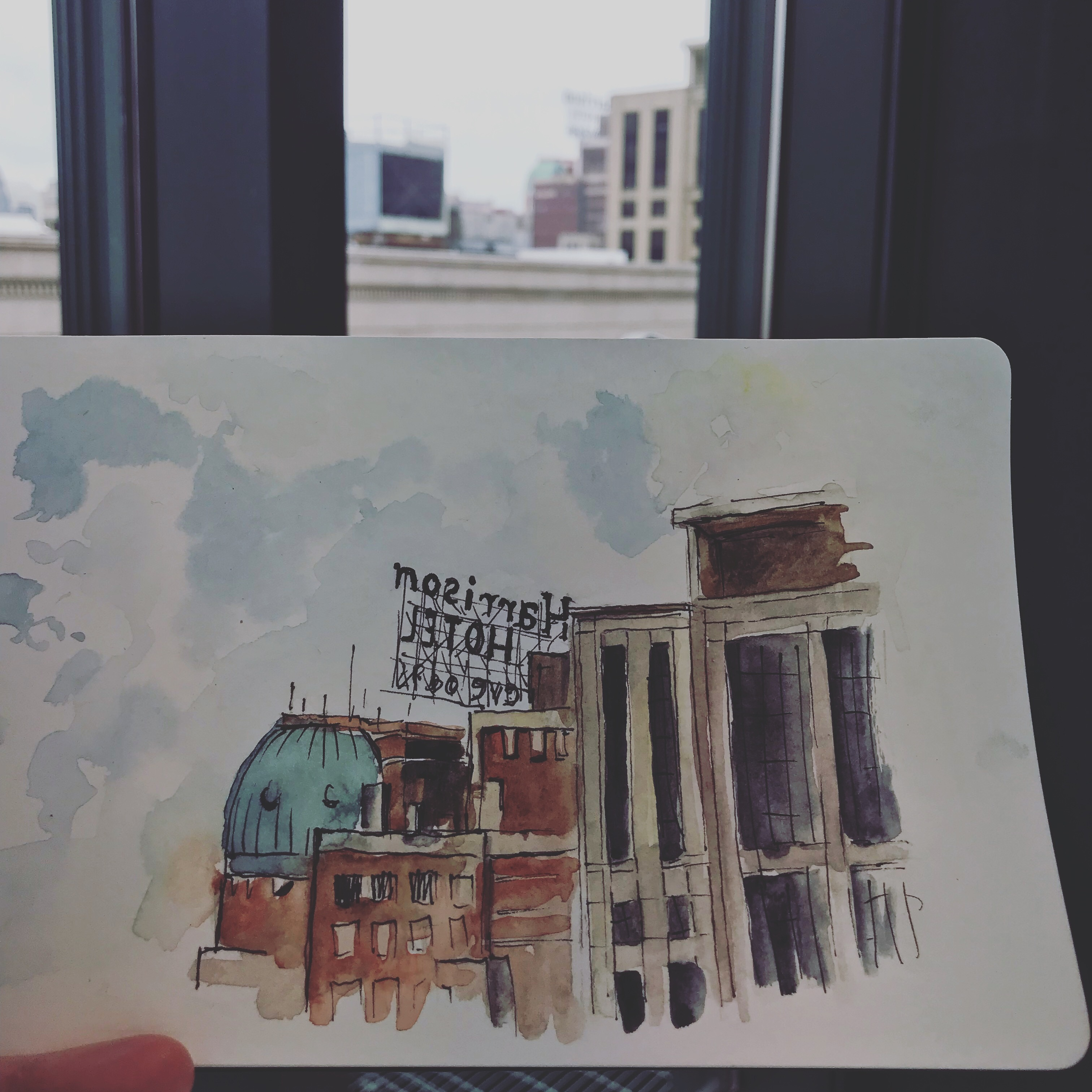 Sketching the hotel from the Harold Washington Library