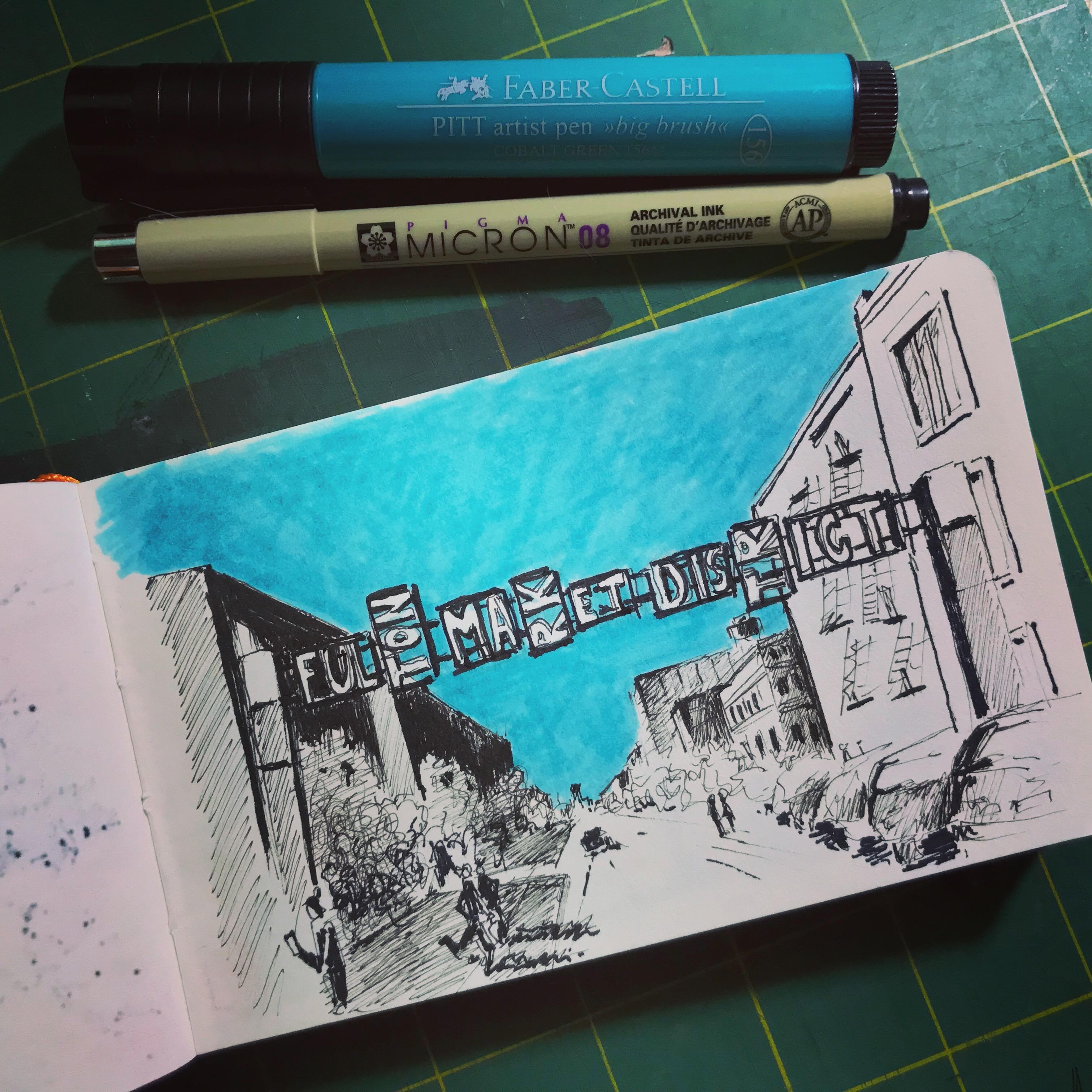 Pen and marker urban sketch of fulton market