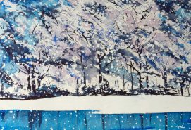 Winter snow watercolor