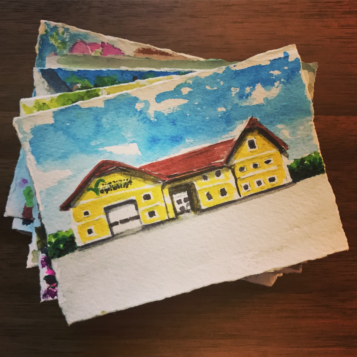 Watercolor exercise - small building paintings
