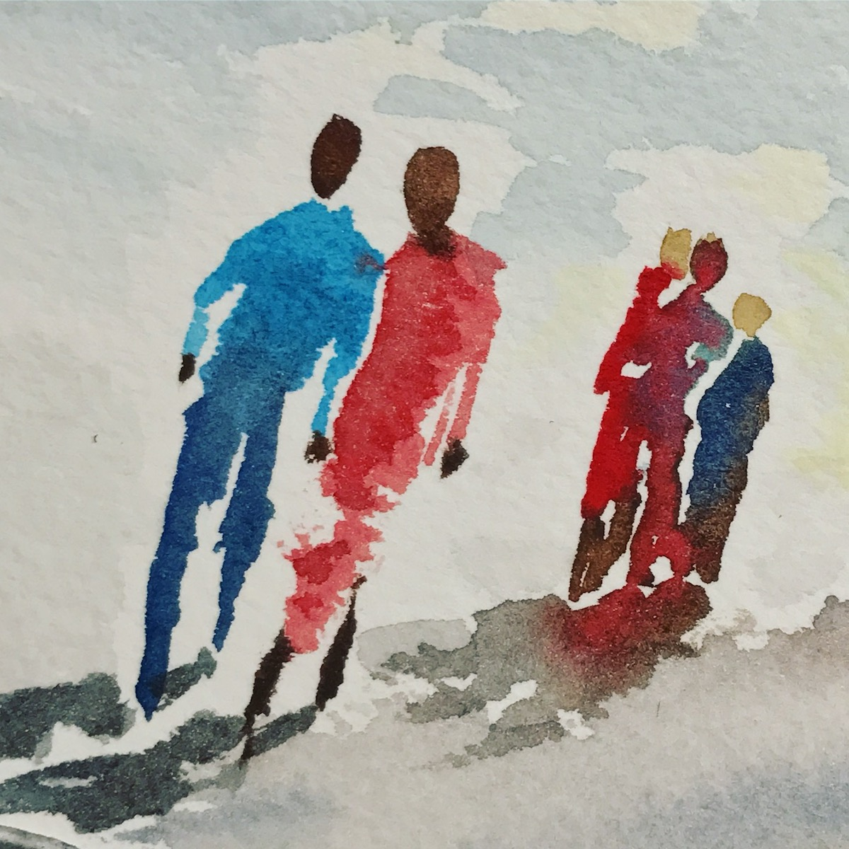 Watercolor exercise - painting a group of people