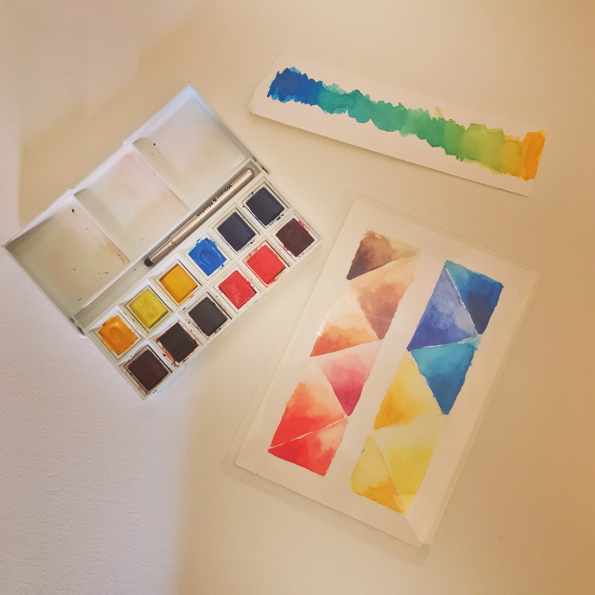 Watercolor exercises - painting basic shapes