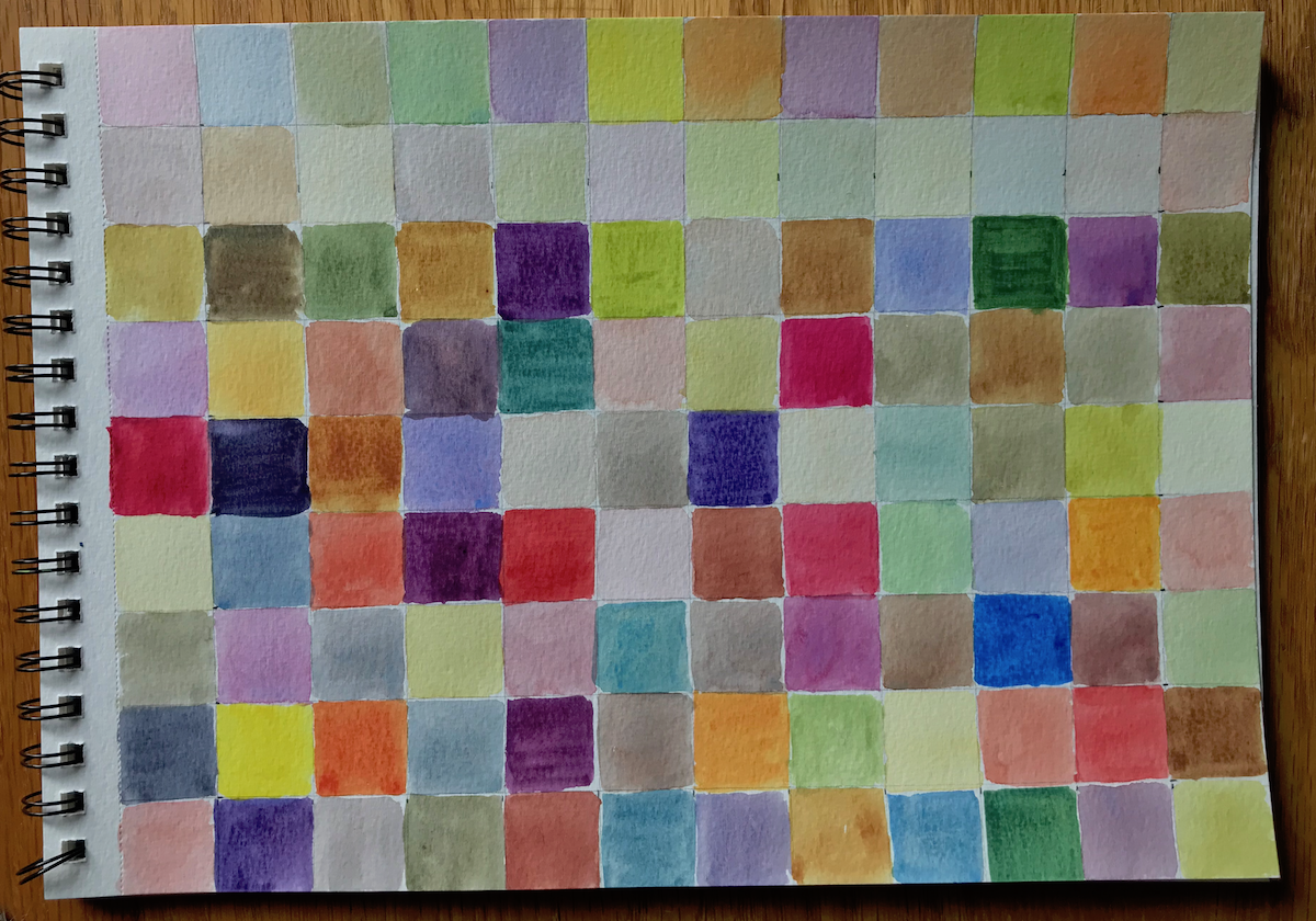 Watercolor grid using 3 colors; Lemon yellow, Permanent Rose, and Cobalt Blue