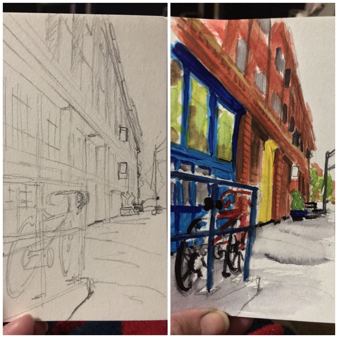 Watercolor sketching on location in preparation