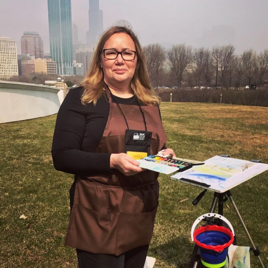 Monika Arturi Plein-Air Painting on Museum Campus Lake Michigan