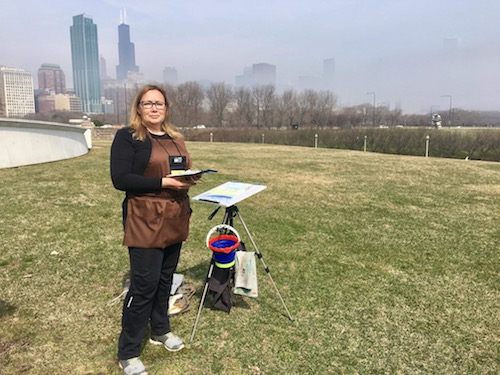 Plein air watercolor painting at the Field Museum Chicago