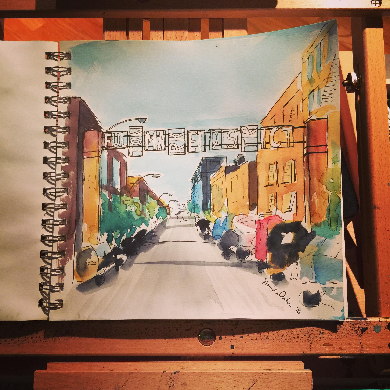 Fulton Market Watercolor Sketch
