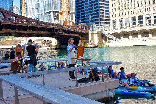 Watercolor plein air Chicago riverwalk