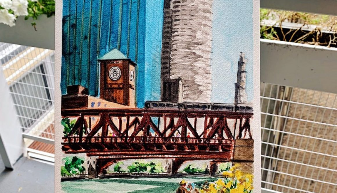 Watercolor plein air Chicago riverwalk