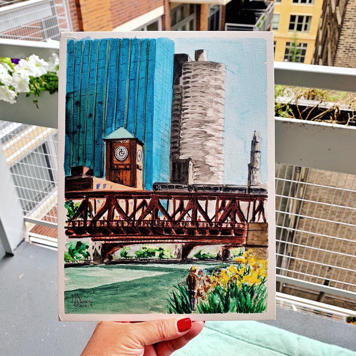 Watercolor plein air painting Chicago river walk