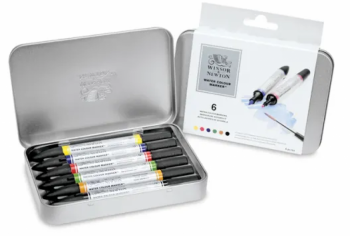 Winsor & Newton Watercolor Markers beautify your pages with highly pigmented, lightfast color in a spectrum of 36 brilliant shades. These markers have a double-ended design that includes both a fine point tip and a flexible brush tip, enabling techniques from subtle to precise. The colors in the Winsor & Newton Watercolor Marker line mirror — and are fully intermixable with — Winsor & Newton Professional Watercolors. They also work well with all watercolor mediums. Available individually or in a set of 6 or 12.