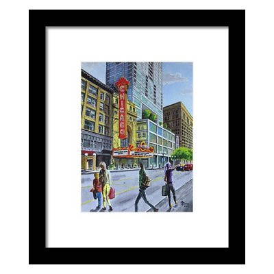 The Vhicago theatre on State Street - Watercolor print framed