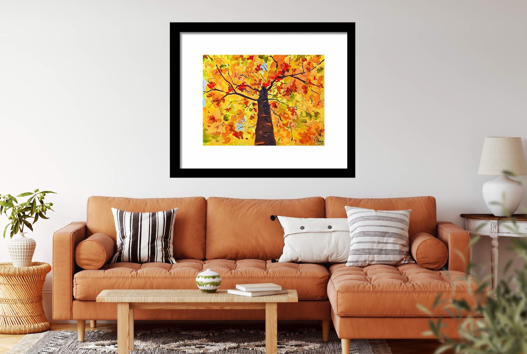 Watercolor painting - Autumn Leaves by Monika Arturi