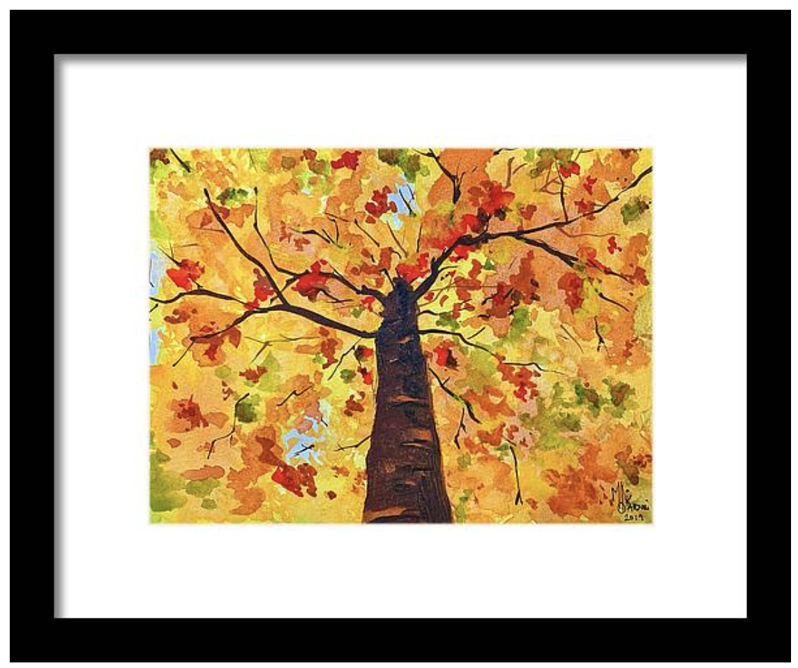 Watercolor painting - Autumn leaves by Monika Arturi