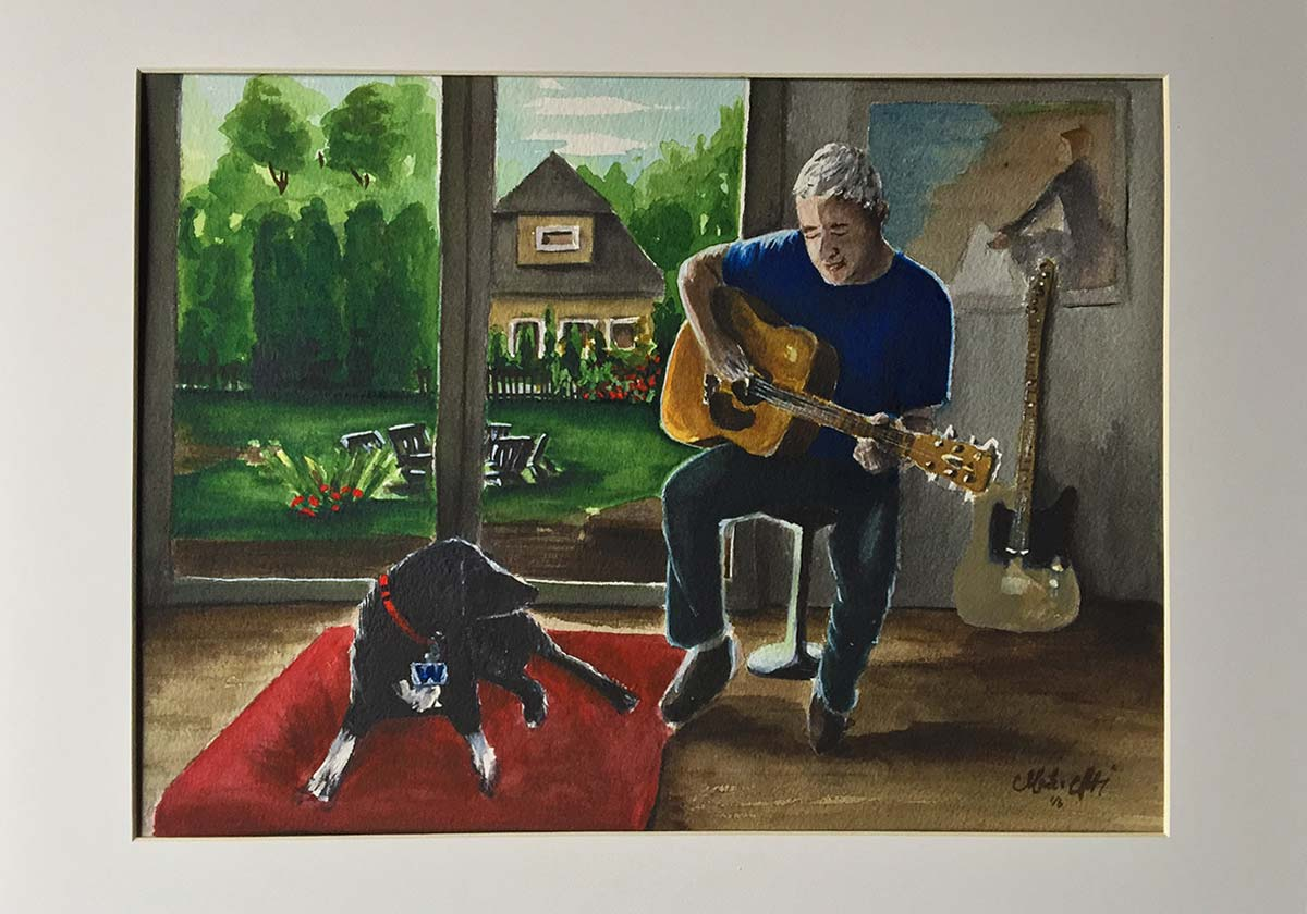 Watercolor Painting of man with guitar - Monika Arturi
