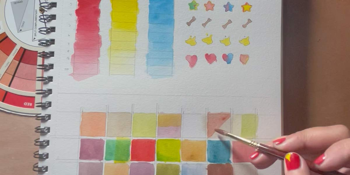 Mixing and glazing primary colors watercolor exercise