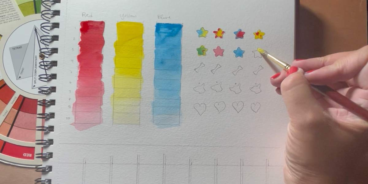 Primary color watercolor exercise shapes